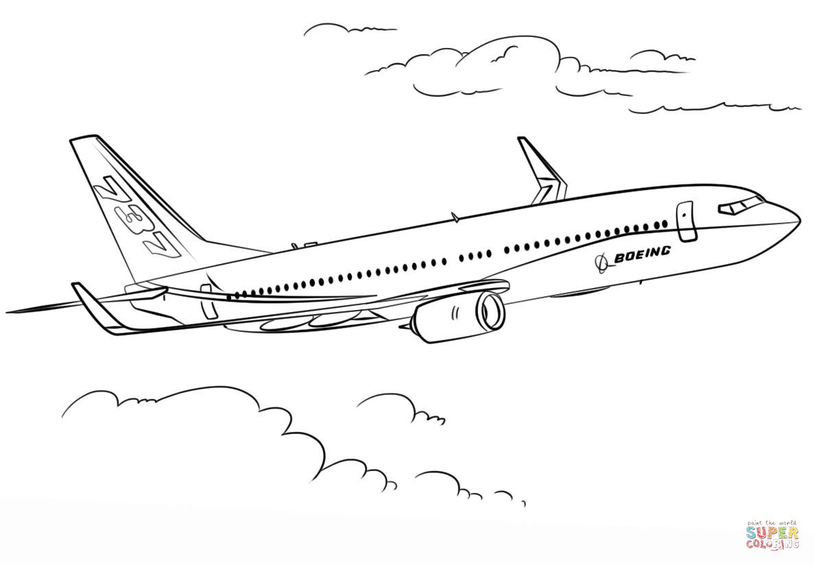 Boeing 737 Super Coloring Airplane Coloring Pages Airplane Drawing Coloring Pages