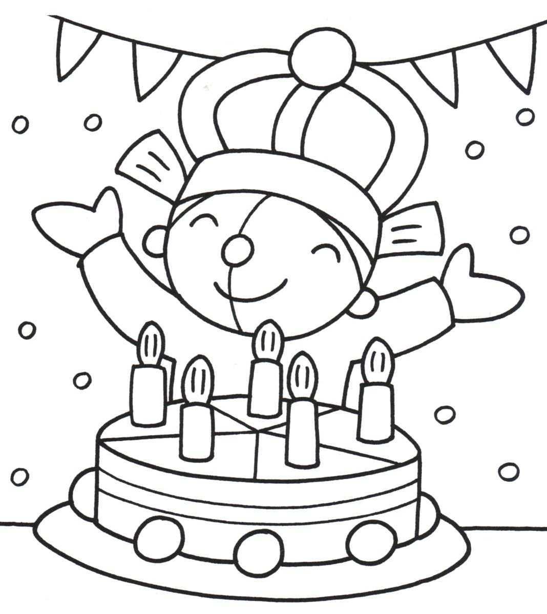 Kleurplaat Pompom Verjaardag Knutselen Met Verjaardag Verjaardagskalender Thema