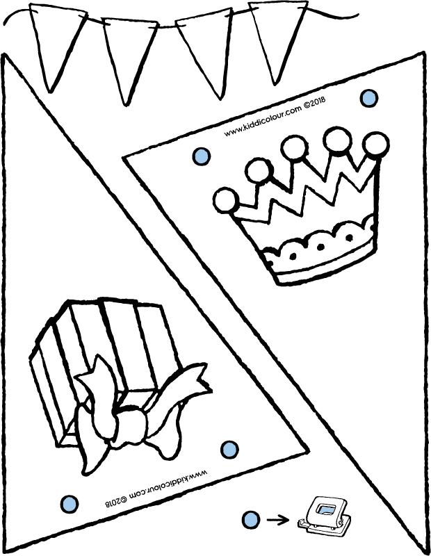 Vlaggen Voor Verjaardag Kleurplaat Kleurprent Tekening 01k Vlaggetjes Knutselen Verjaardag Vlaggetjes Knutselen Verjaardag