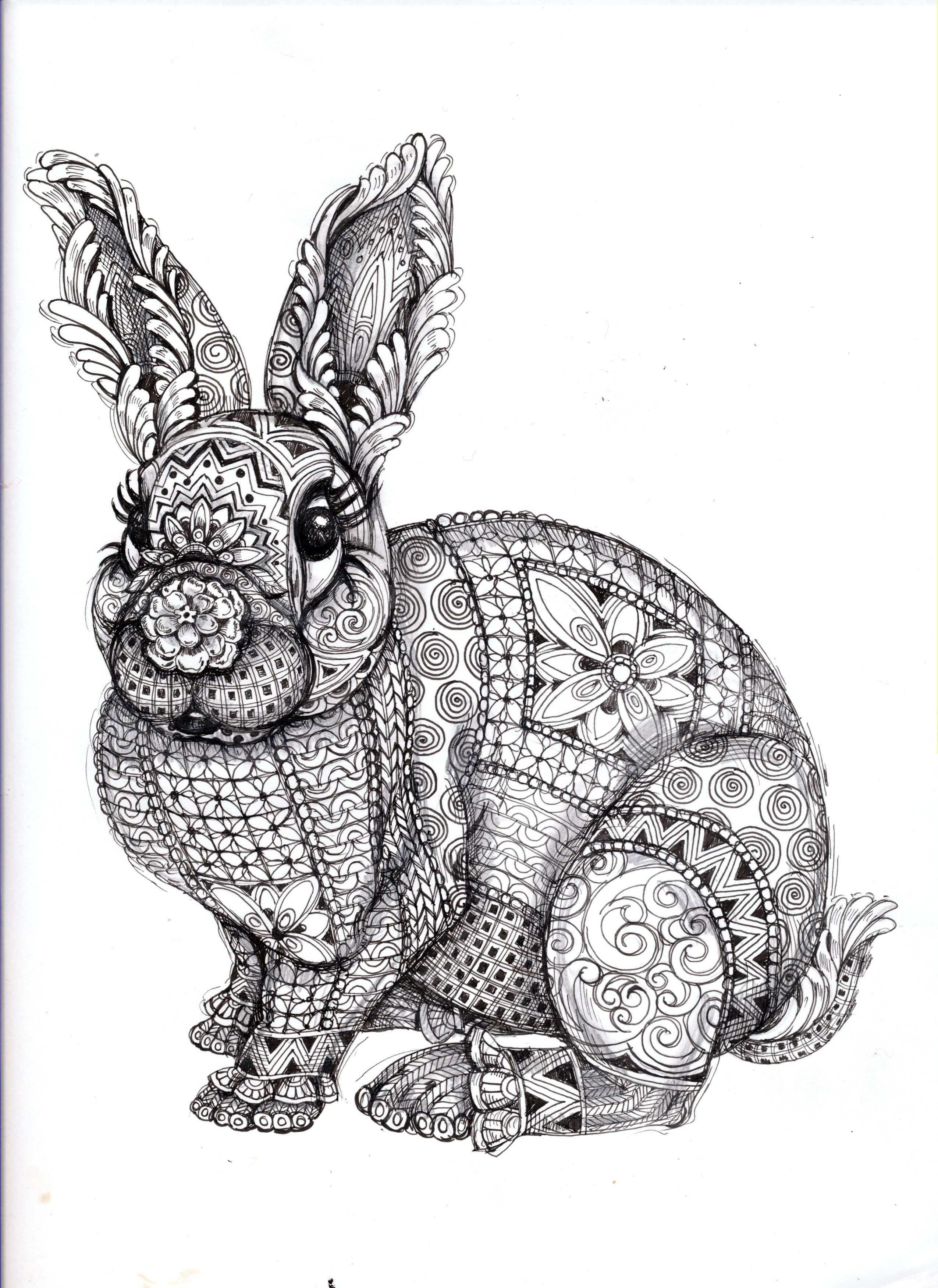 Bunny Ornation Creation Art By Cindy Lysonski Kleurplaten Mandala Kleurplaten Zentangle Kunst