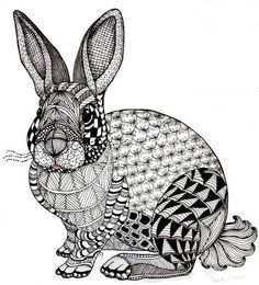 Zentangled Rabbit In 2020 Zentangle Animals Art Zentangle Art Zentangle Animals