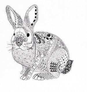 Efie Goes Zentangle Ben Kwok Rabbit Dieren Kleurplaten Kunstwerk Zentangle Kunst