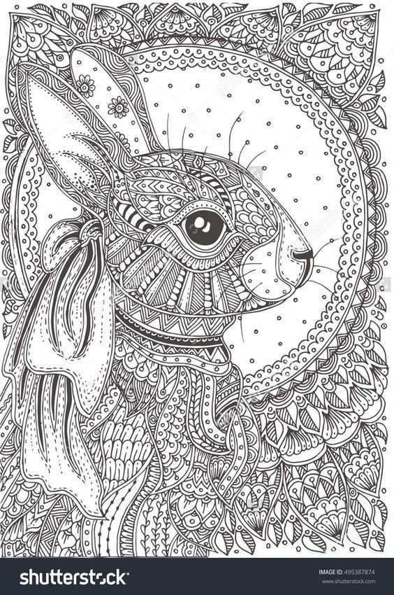 Rabbit Zentangle Mandala Kleurplaten Kleurboek Kleurplaten