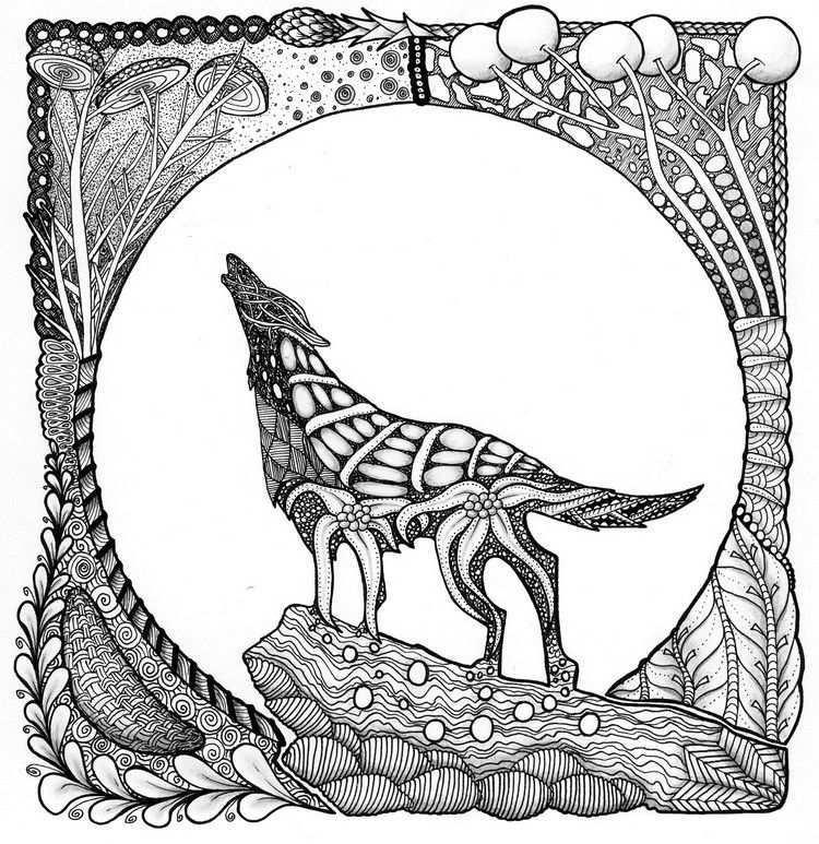 Kleurplaat Wolf Tatoeages Tekenen Kleurplaten Voor Volwassenen Kleurplaten