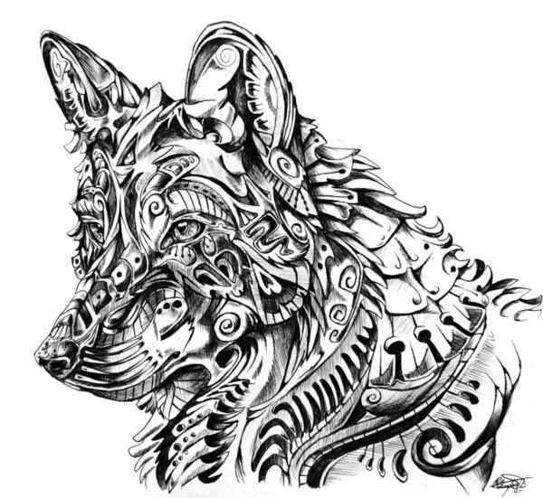 Coloring For Adults Kleuren Voor Volwassenen Abstract Wolf Wolf Art Print Wolf Art