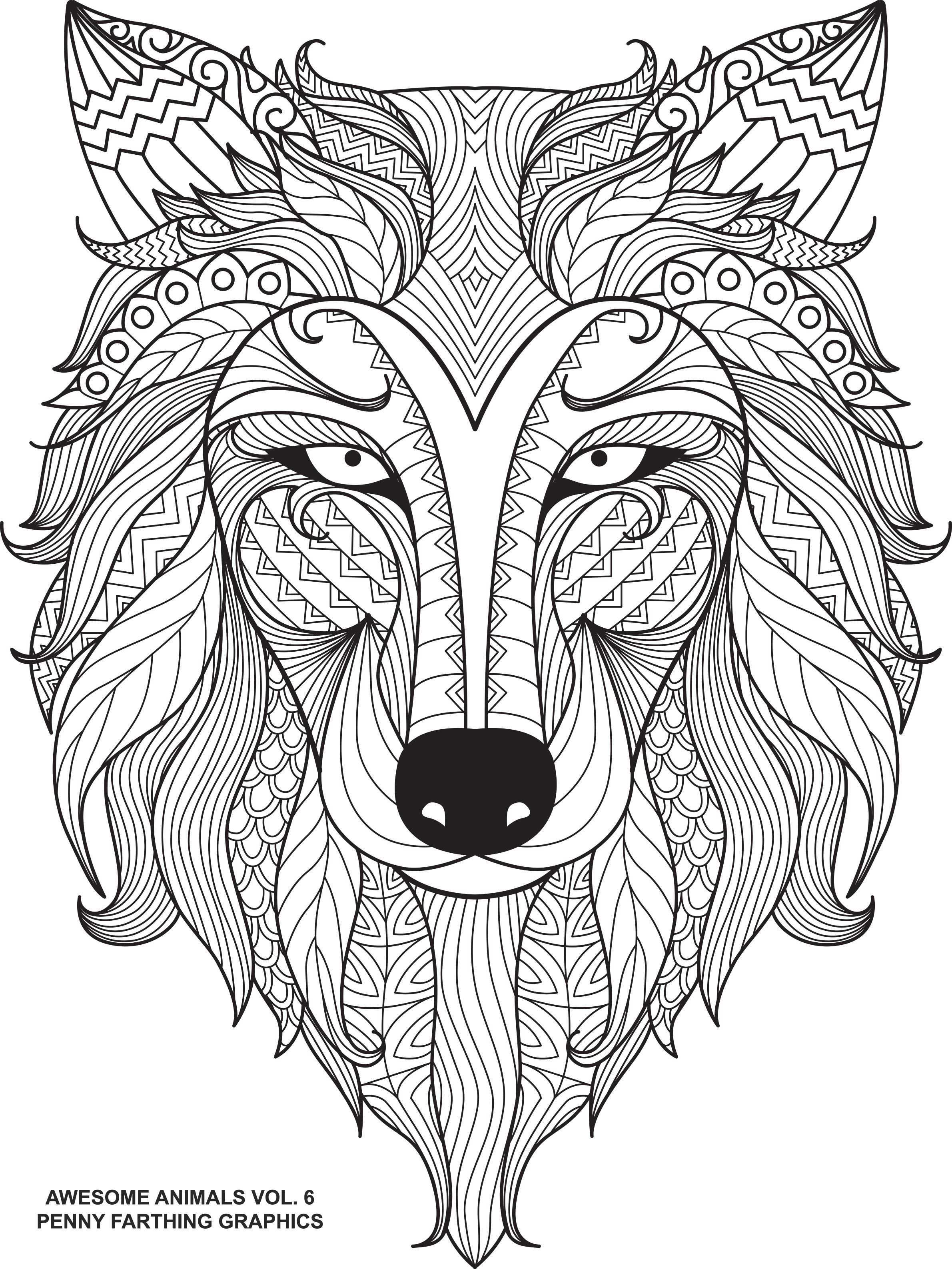 Wolf From Awesome Animals Volume 6 Mandala Kleurplaten Kleurplaten Kleurboek