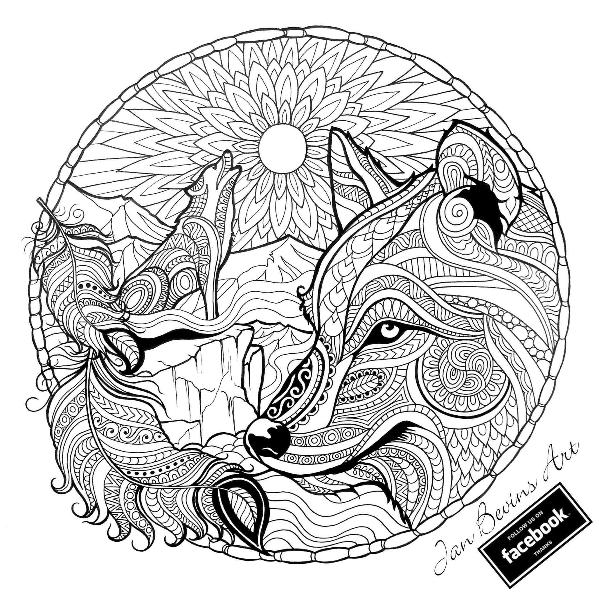 דפי צביעה מנדלה Fox Coloring Page Mandala Coloring Pages Animal Coloring Pages