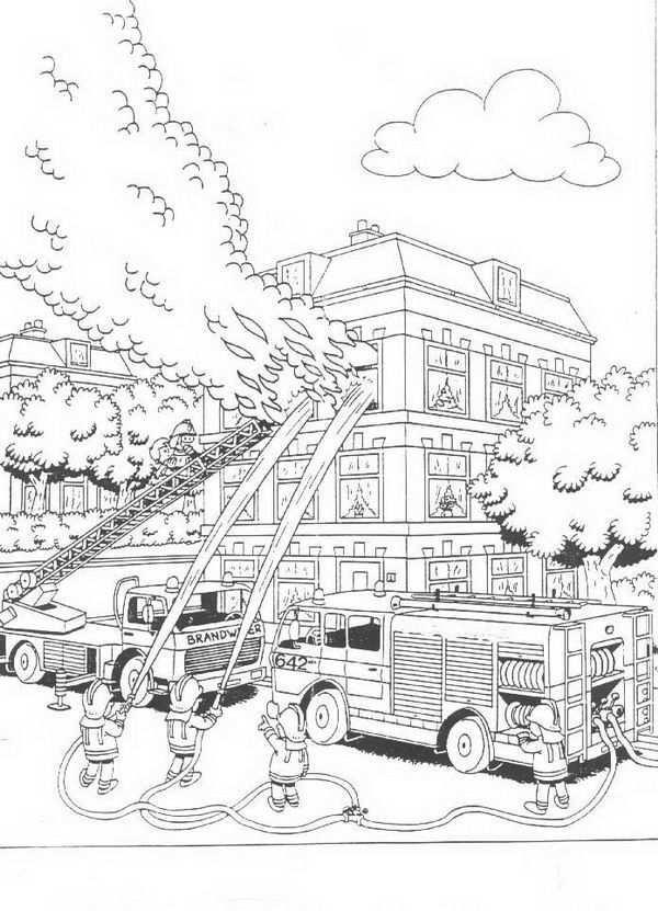 Grote Brand In Huis Kleurplaat Kleurplaten Brandweer Tekenen Voor Kinderen
