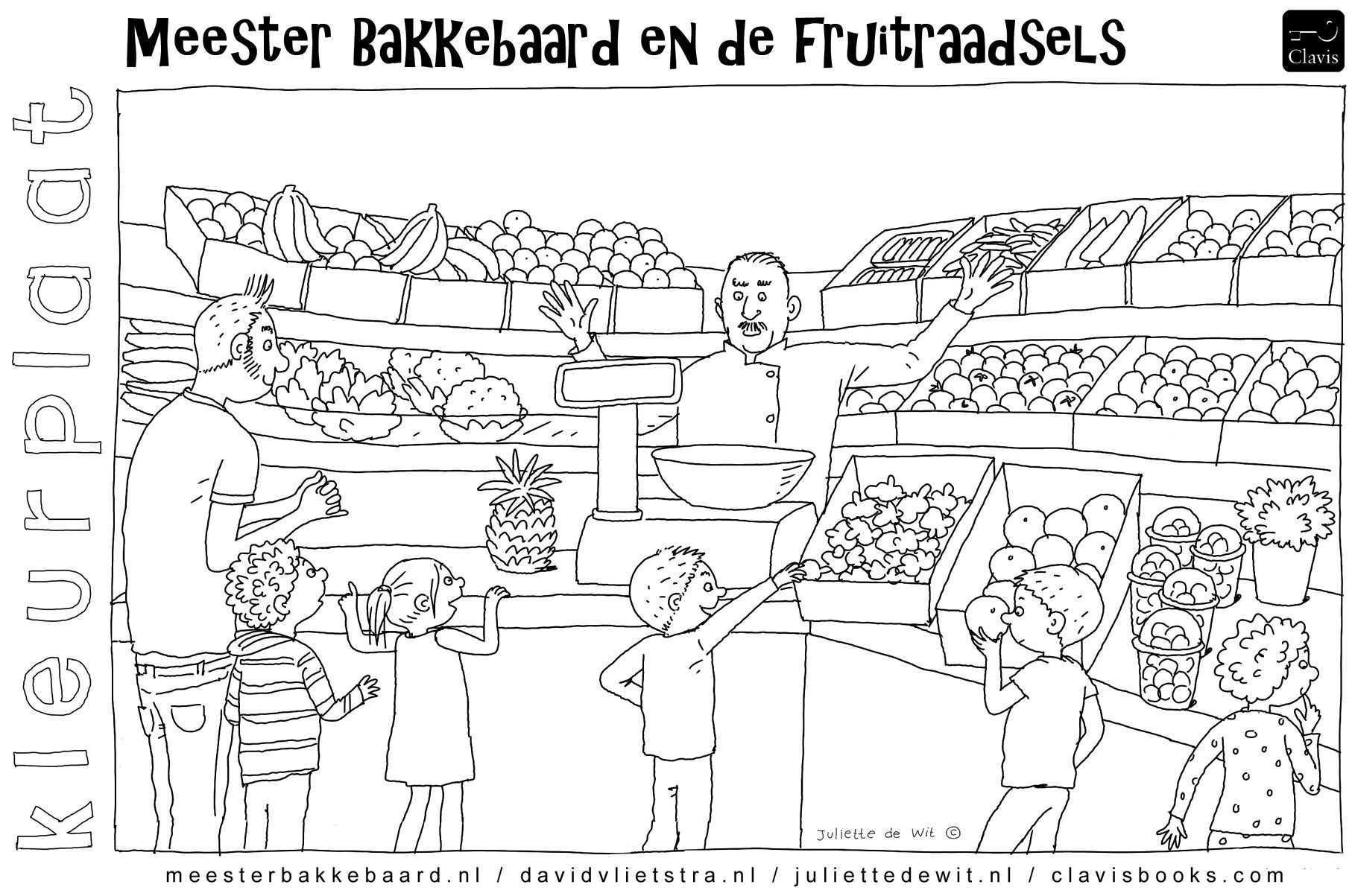Kleurplaat Behorende Bij Het Prentenboek Meester Bakkebaard Met Kinderen Bij Een Groenteman Groente Fruit Groenteboer Groentew Groente Kleurplaten Fruit