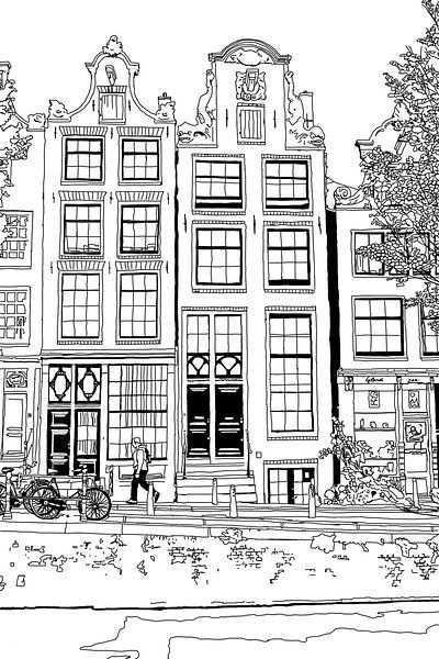 Tekening Brouwersgracht 48 Amsterdam Van Hendrik Jan Kornelis Op Canvas Behang En Meer Stad Tekening Stad Illustratie Tekening Architectuur