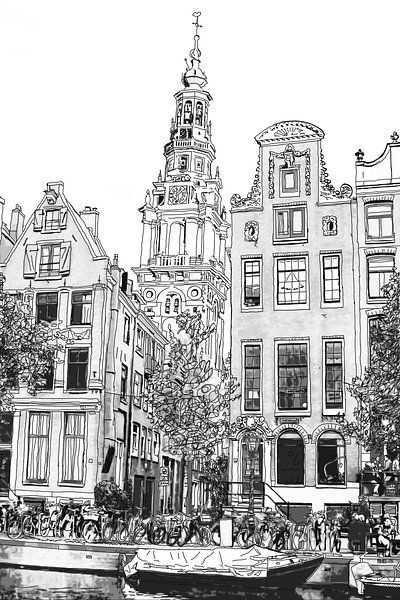 Pen Aquarel Tekening Kloveniersburgwal 50 Amsterdam Uitzicht Van Hendrik Jan Kornelis Op Canvas Behang En Meer In 2020 Stad Tekening Amsterdam Canvas