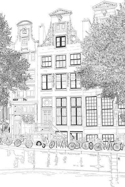Kunstwerk Pen Tekening Herengracht 392 Amsterdam Portret Van Hendrik Jan Kornelis Stad Illustratie Aquarel Schilderij Handleidingen Stadstekening