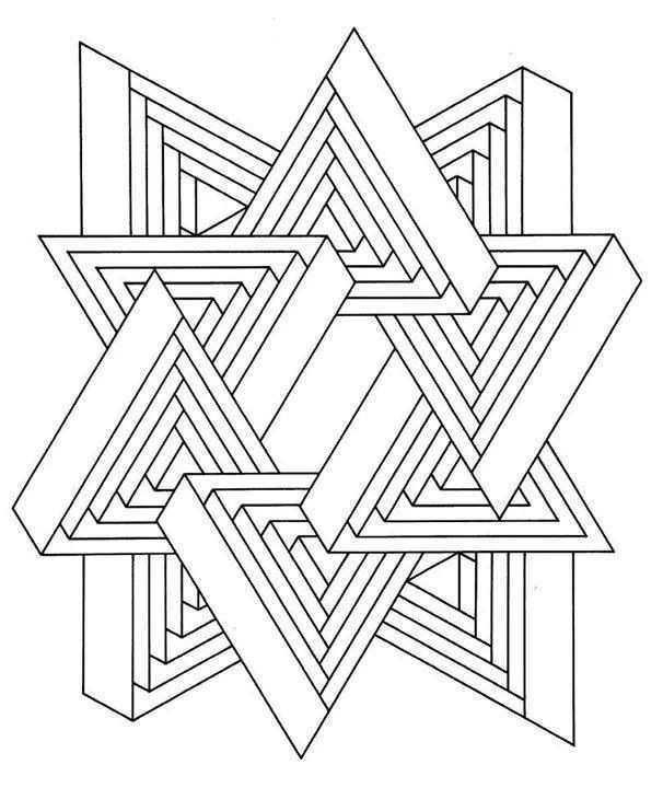 Drie Hoeken Abstracte Kleurplaten Mandala Kleurplaten Geometrische Tekening