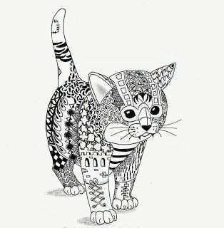 Efie Goes Zentangle Kitten Van Ben Kwok In 2021 Kattenkunst Dieren Kleurplaten Kunst Ideeen
