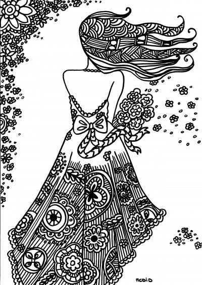 Flower Girl Zentangle Coloring Page Free Printable Kleurplaten Voor Volwassenen Kleurplaten Gratis Kleurplaten