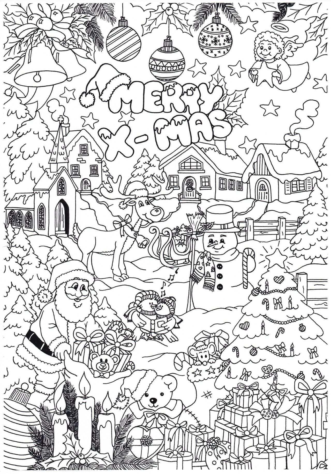 Disegni Kerstmis Kleuren Kerstkleurplaten Kerstmis Knutselen Volwassenen