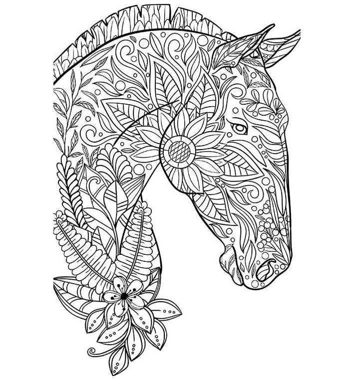 Mindfulness Paard 2 Kleurplaat Mandala Kleurplaten Kleurplaten Mindfulness