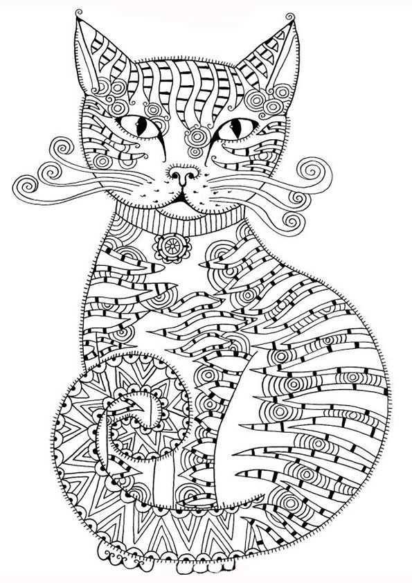 Pin Van Cathy K Op Cats Coloring Kleurplaten Mandala Kleurplaten Dieren Kleurplaten