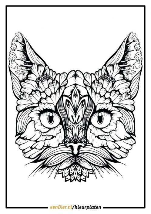 Kleurplaat Poes Voor Volwassenen Zwarte Kat Tatoeages Kleurplaten Katten Tekening