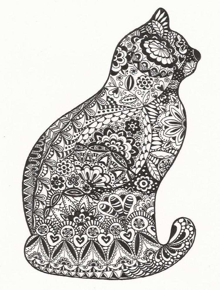 Zentangle Poes Dieren Kleurplaten Zentangle Kunst Kattenkunst