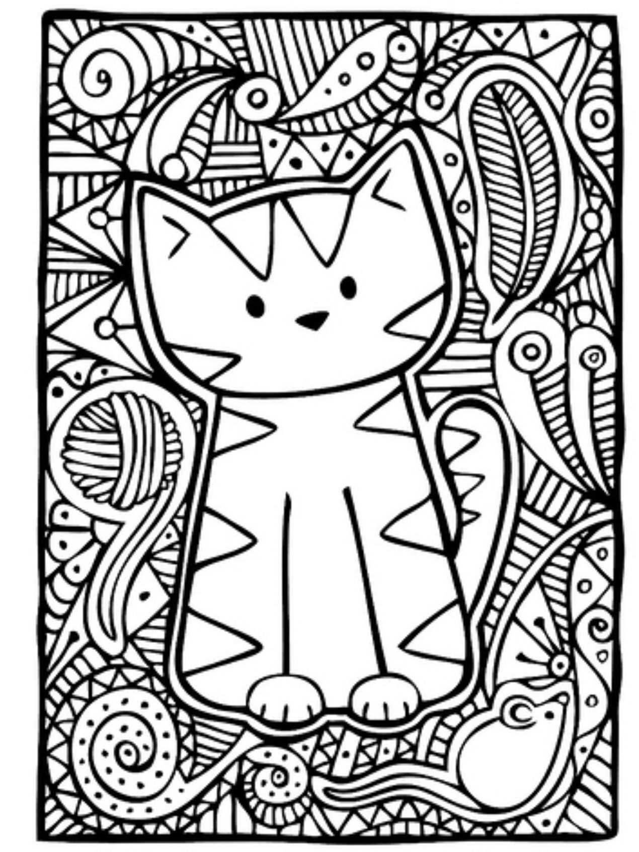 Kleurplaat Poes Kattenfeestje Kleurplaten Mandala Kleurplaten
