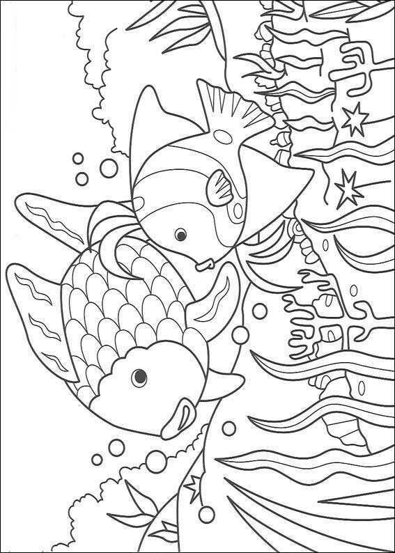Coloring Page Rainbow Fish Rainbow Fish Dieren Kleurplaten The Rainbow Fish Boek Bladzijden Kleuren
