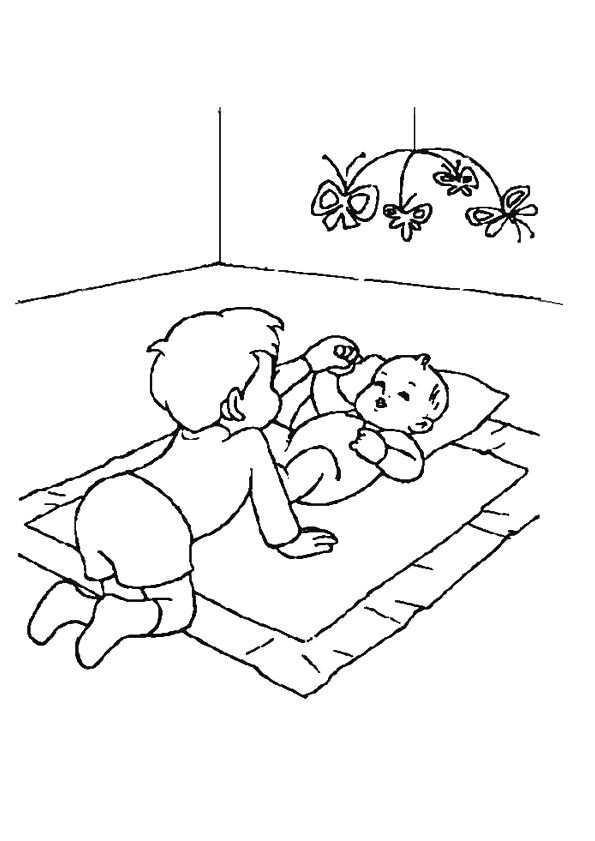 Kleurplaat Broertje Speelt Met Baby Zusje 4476 Kleurplaten Baby Broertjes