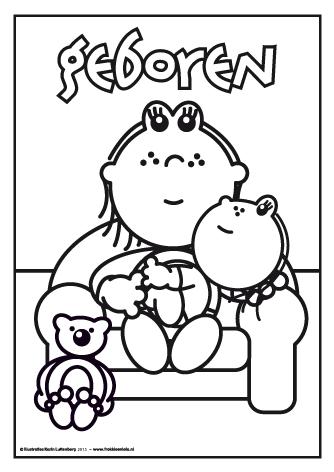 Frokkie En Lola Kleurplaat Baby Meisje Geboren Baby Kleurplaten Geboorte