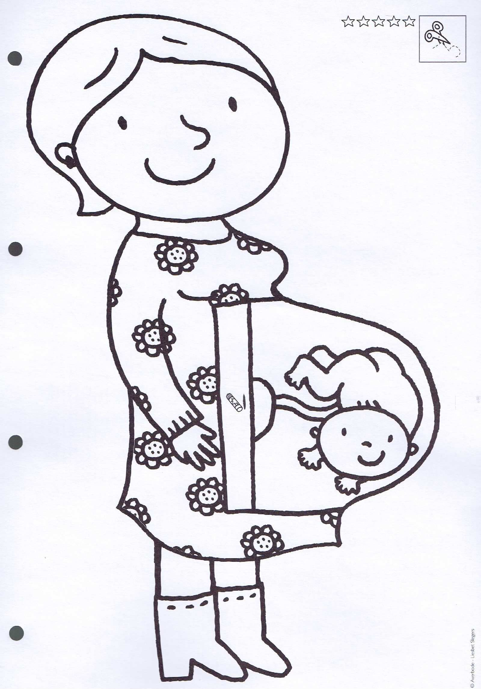 Kleurplaat Zwangere Mama Thema De Baby Knutselen Thema Baby Thema Knutselen Geboorte