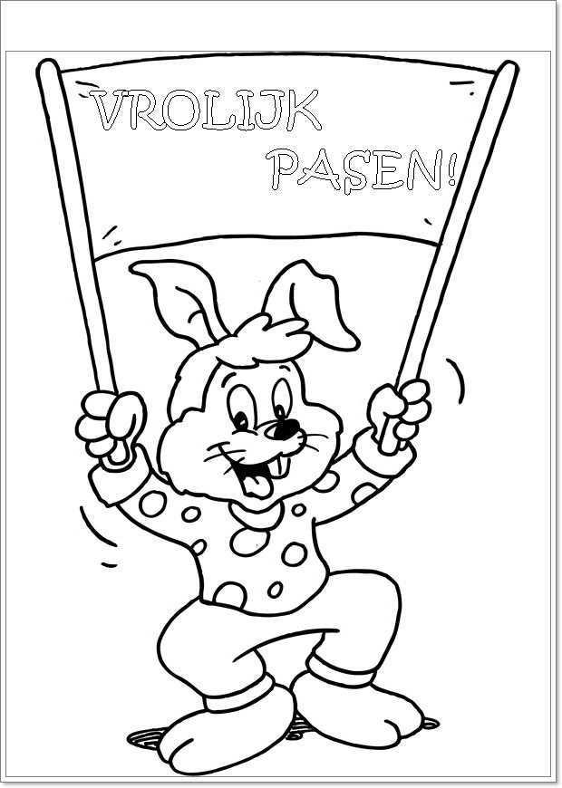 Vrolijk Pasen Kleurplaten Pasen Paashaas