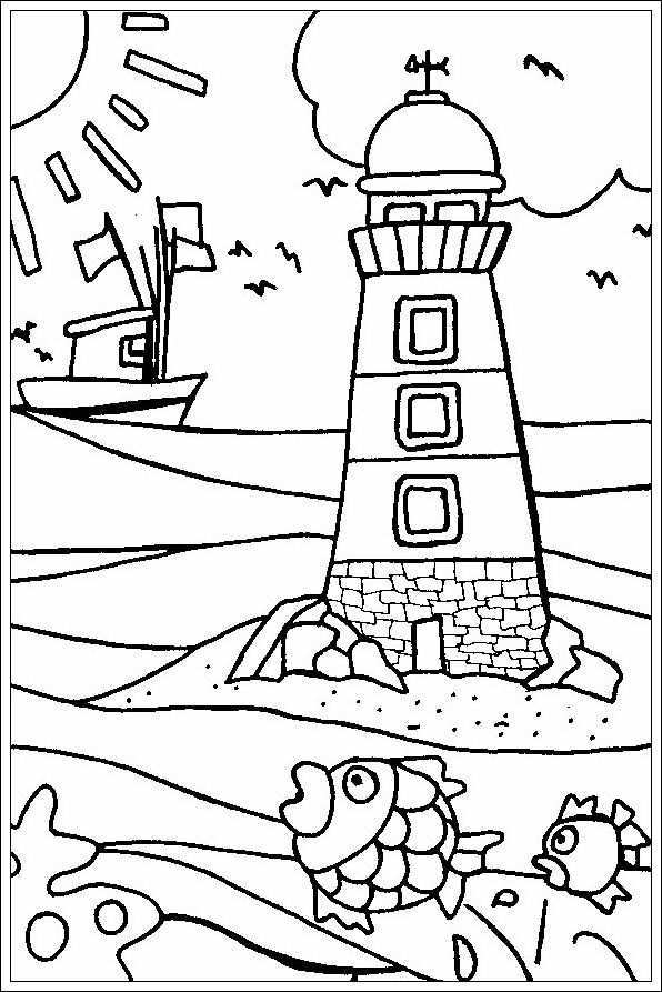 Vuurtoren Summer Coloring Pages Beach Coloring Pages Summer Coloring Sheets