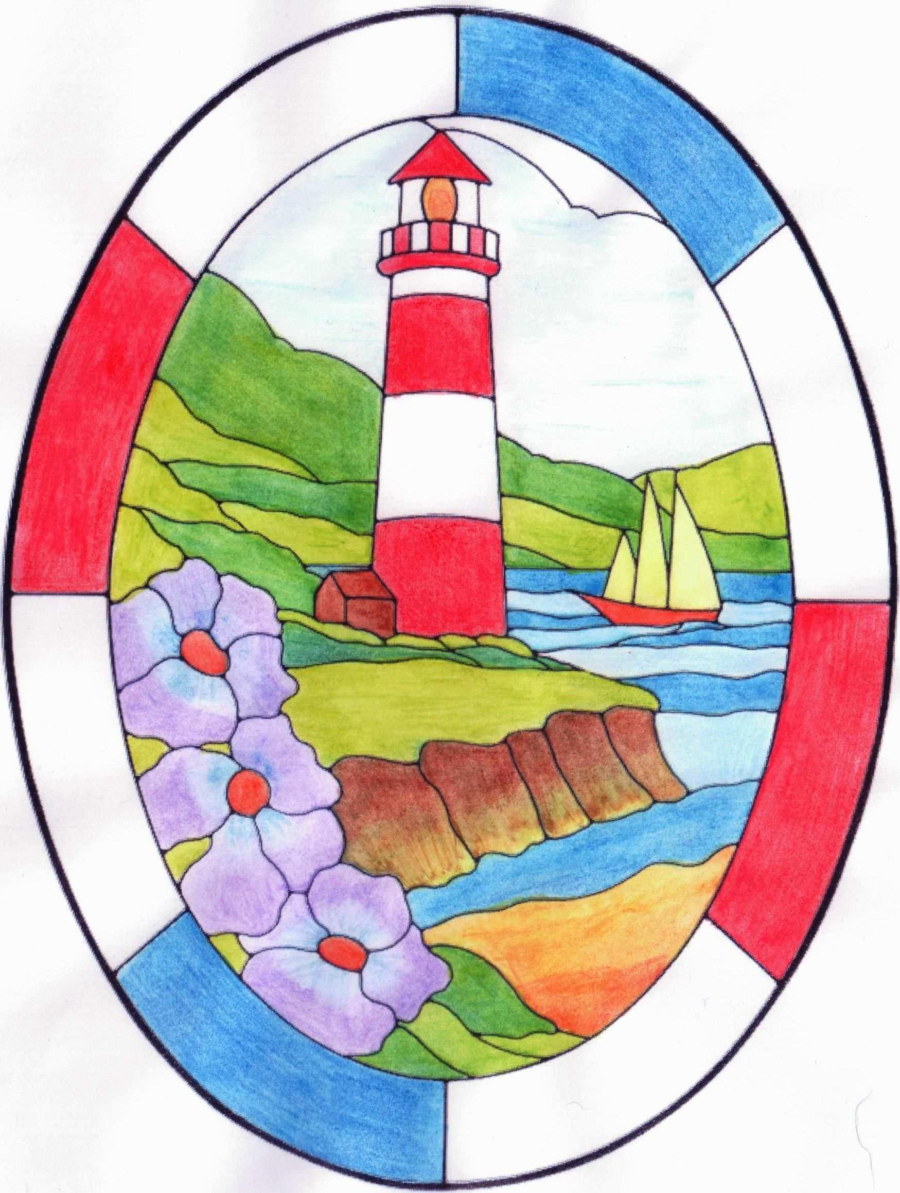Vuurtoren Kleurplaat Colouring Page Lighthouse Met Aquarelpotlood Christmas Drawing Nautical Cards Coloring Pages