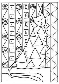 Chat A La Maniere De Klimt Klimt Art Klimt Art Handouts