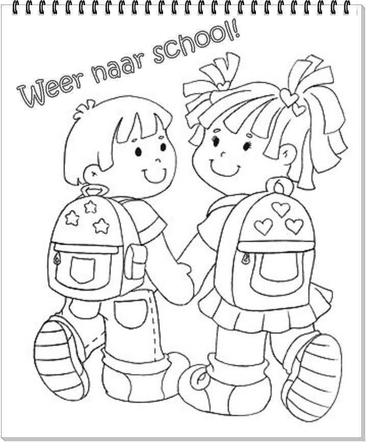 Weer Naar School Welkom Terug Op School Naar School Gaan Kinderkleurplaten