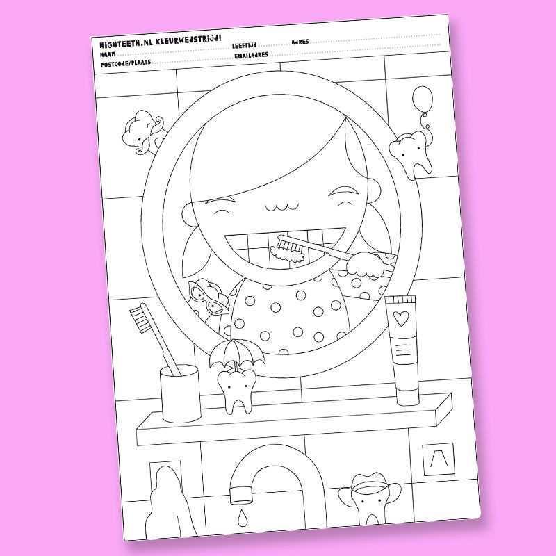 Kleurplaat Meisje High Teeth Kleur Activiteiten Tandarts Tandartsen