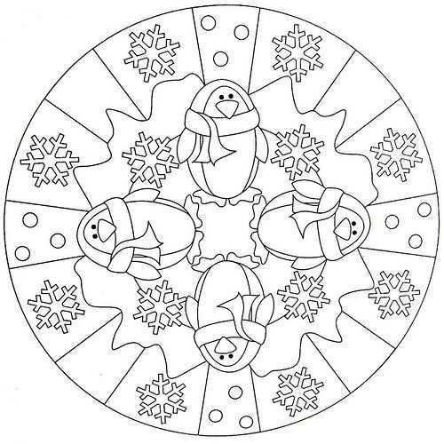 Mandala Coloring Page Penguin Kleurplaten Mandala Kleurplaten Winter Knutselen