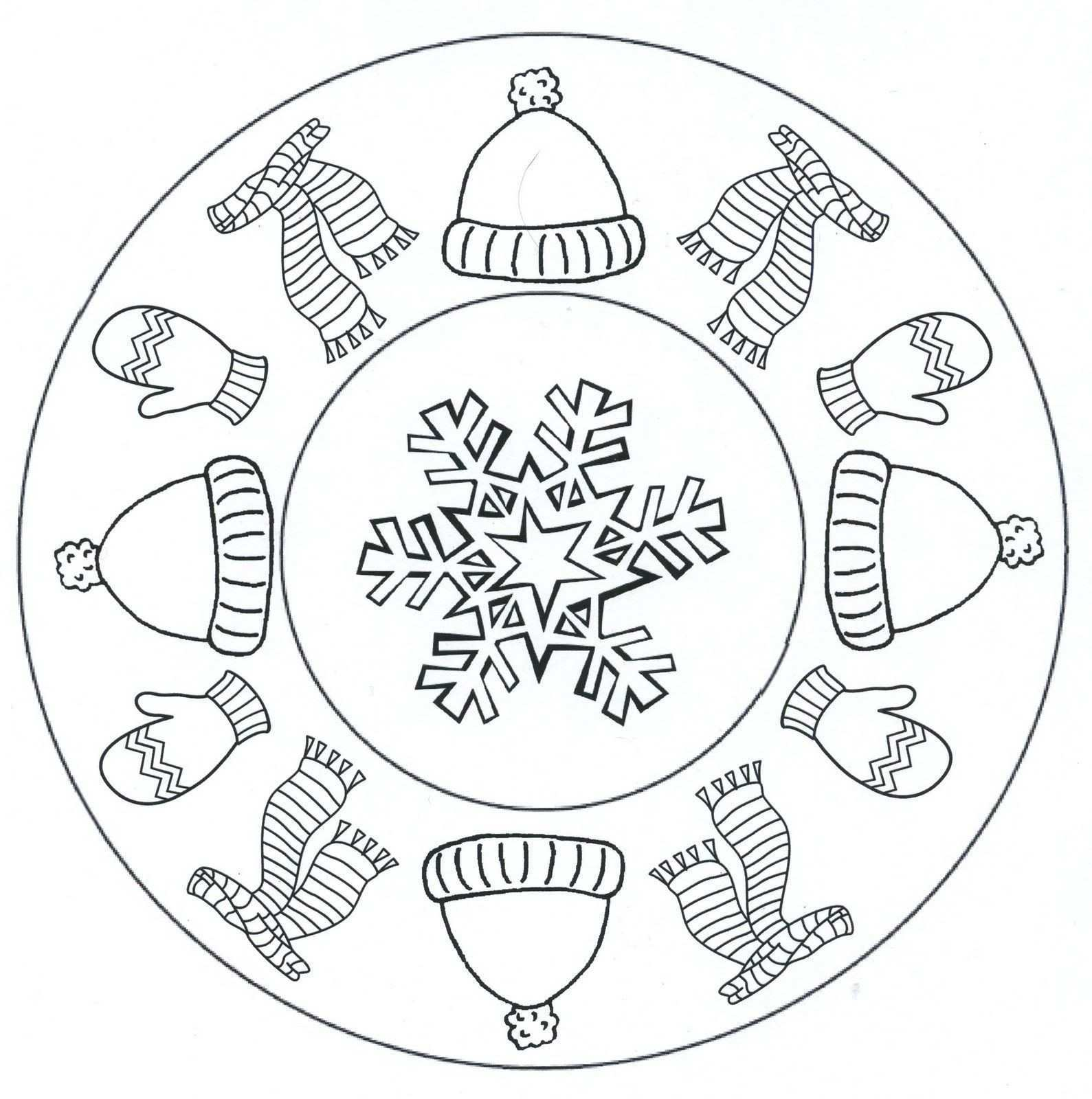 Mandales Hivern Winter Crafts For Kids Mandala Coloring Pages Winter Crafts
