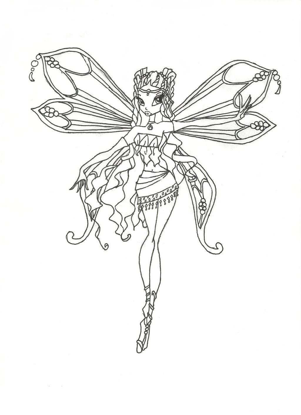 Winx Club Enchantix Layla Coloring Page By Winxmagic237 Deviantart Com On Deviantart Coloring Pages Fairy Coloring Pages Winx Club