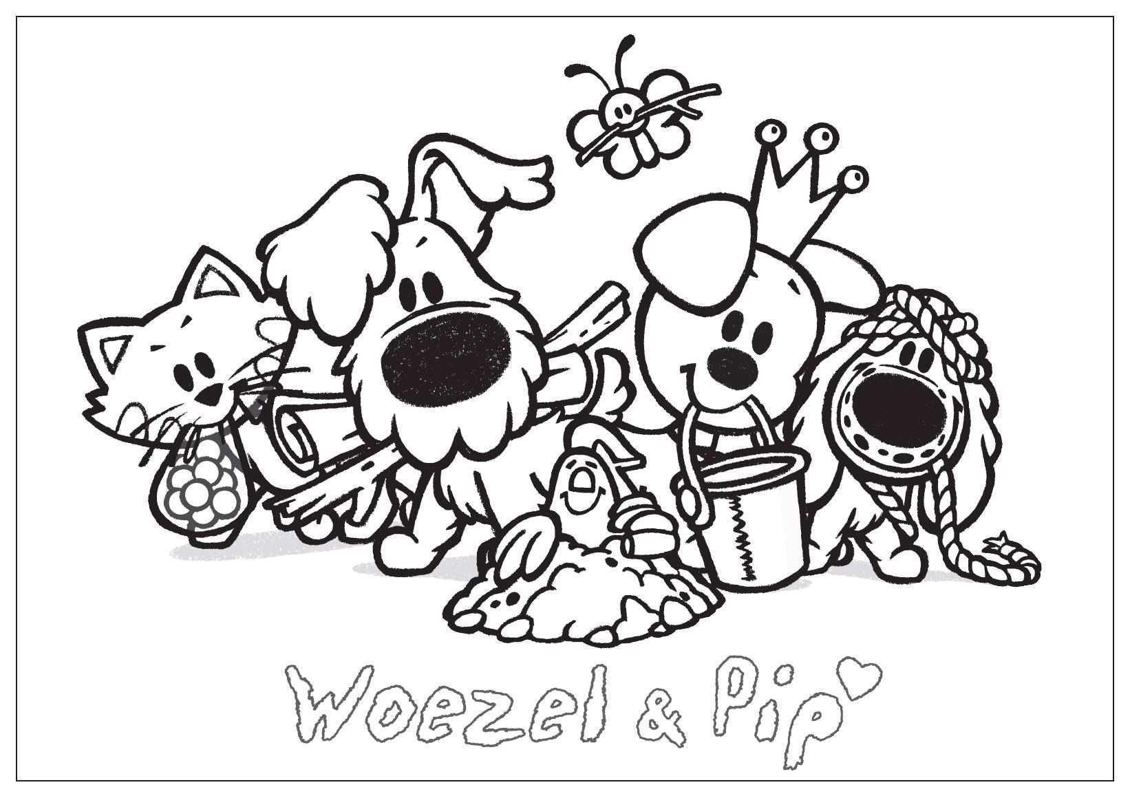 Kleurplaat Woezel Pip Met Charlie Op Zoek Naar Sloddervos Kleurplaten Hond Tekeningen Thema