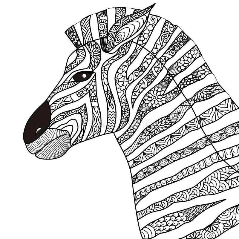 Hand Drawn Zebra Zentangle Style For Coloring Book Tattoo T Shirt Design Logo Vector Illustration Zentangle Zebra S Kleurplaten Voor Volwassenen