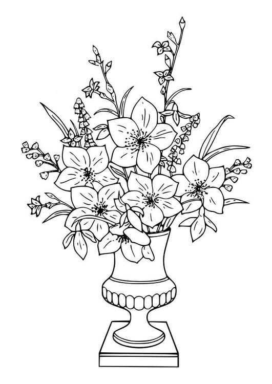Coloring Page Bouquet Of Lillies Img 18643 Mandala Kleurplaten Bloemen Tekenen Bloem Kleurplaten