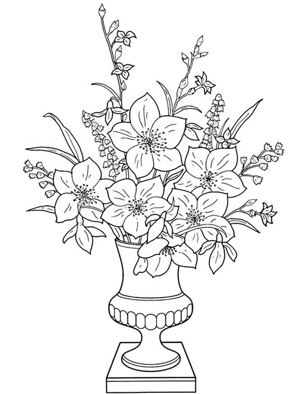 Classic Flower Vase Coloring Page Coloring Sky Mandala Kleurplaten Bloemen Tekenen Bloem Kleurplaten