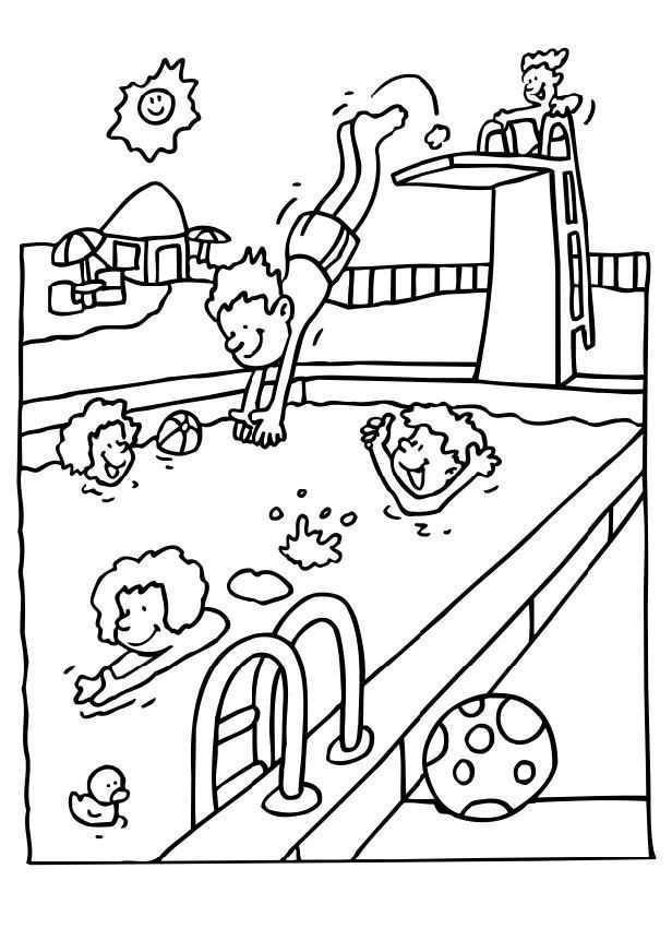 Afbeeldingsresultaat Voor Zwembad Kleurplaat Zomer Kleurplaten Kinderkleurplaten Kleu