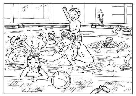 Swimming Pool Colouring Page Zomer Kleurplaten Kleurplaten Zwemmen
