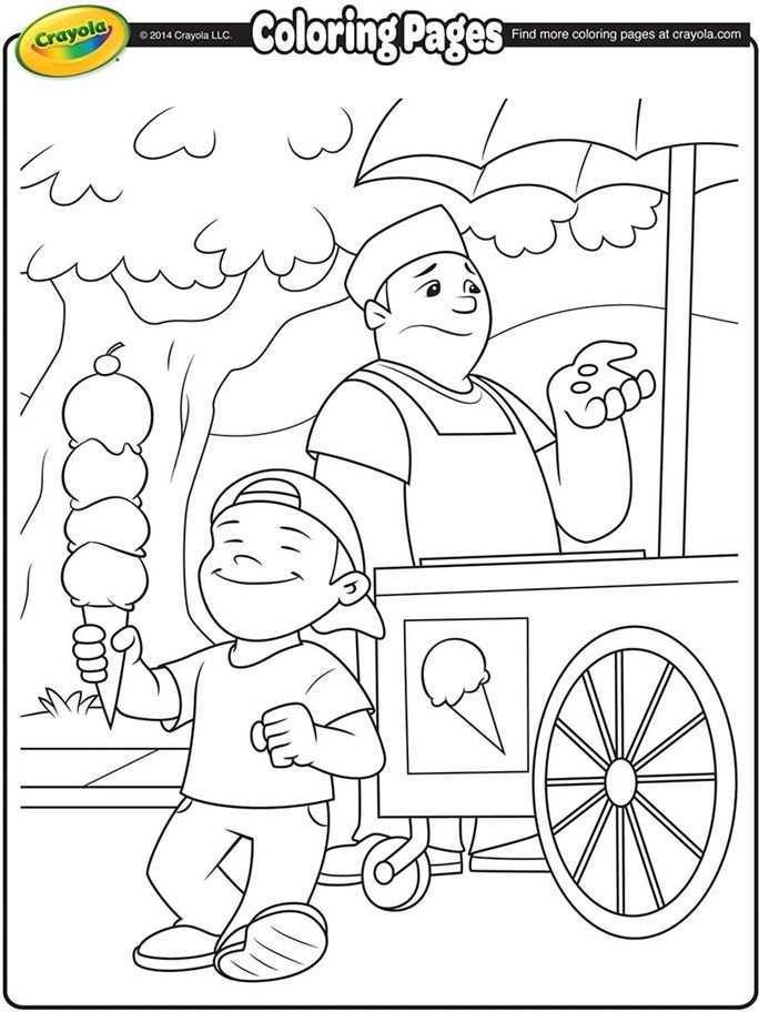 Ice Cream Vendor Coloring Page Kleurplaten Zomer Kleurplaten Moederdag Knutselen Baby