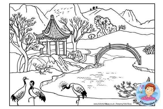 Kleurplaat Chinees Landschap Colorpage Chinese Landscape Kleuteridee Nl Kleurplaten Voor Volwassenen Kleurboek Gratis Kleurplaten