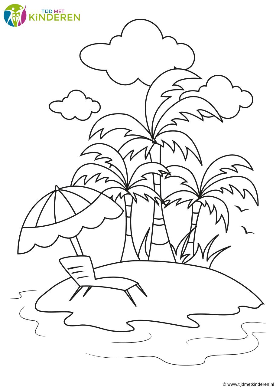 Kleurplaat Vakantie Kleurplaten Sjablonen Eiland