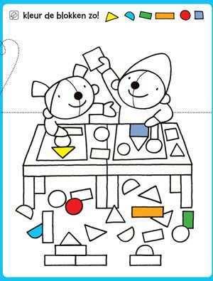 Kleurplaat Kleur De Blokken Vorm Knutselen Vormen Leren Onderwijsvormen