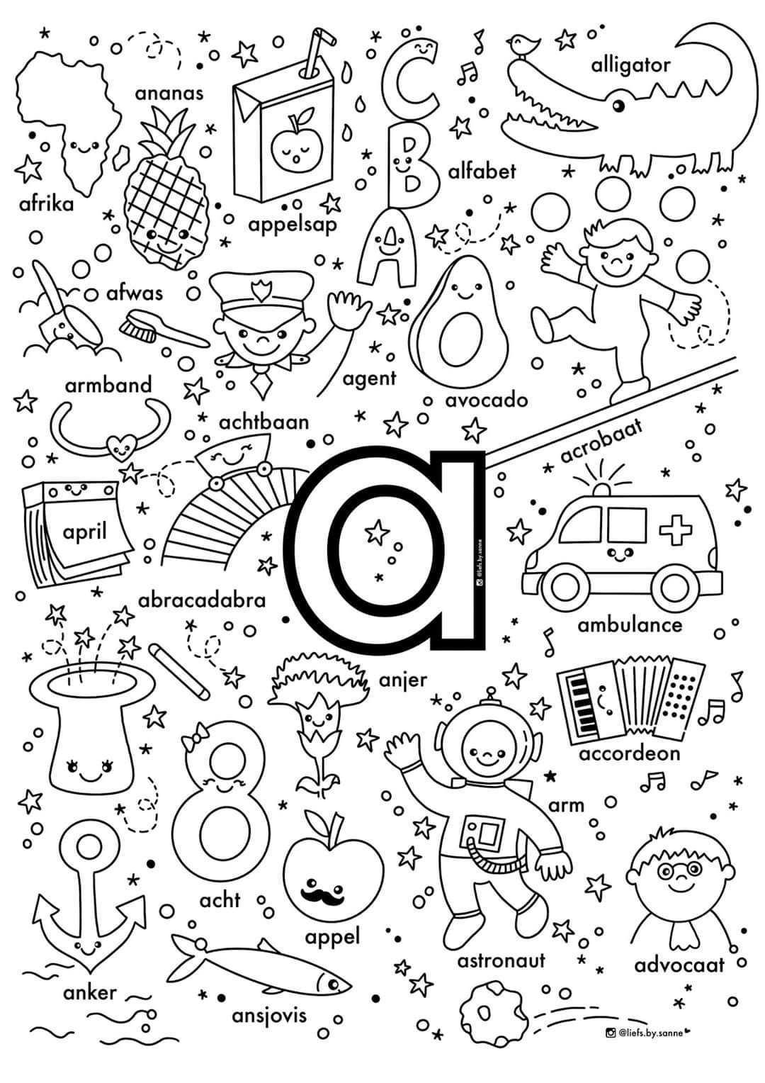 A Woorden Kleurplaat In 2020 Alfabet Boek Letterherkenning Lezen