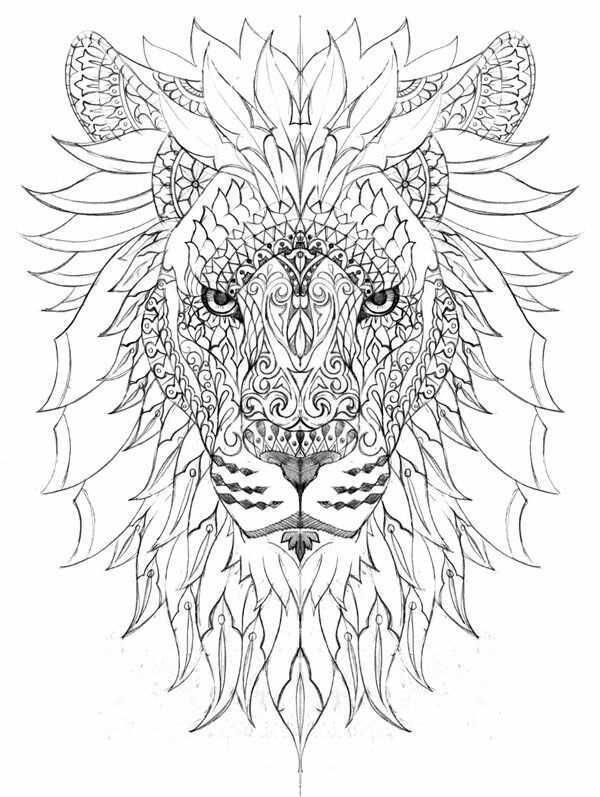 Pin Van Joeri Brouwers Op Tattoo Kleurplaten Aquarel Leeuw Mandala Kleurplaten